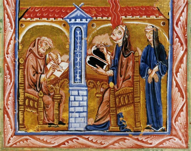 Hildegard of Bingen with Volmar. Image taken from Scivias