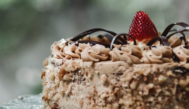 Brown frosted cake
